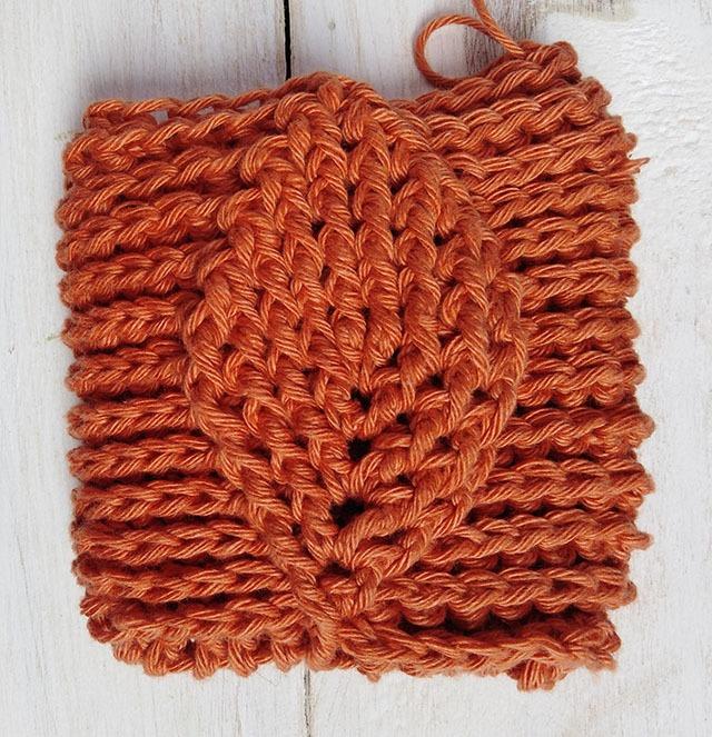 Free Crochet Pattern Leaf Soap Saver - Row. 13