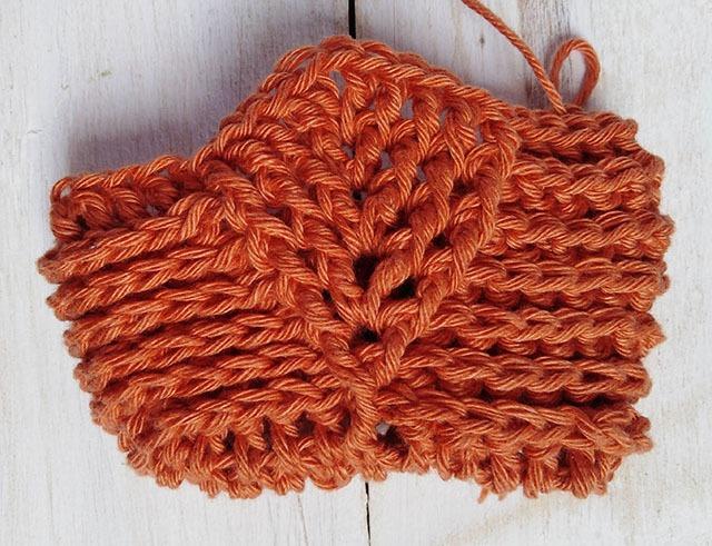 Free Crochet Pattern Leaf Soap Saver - Row. 7