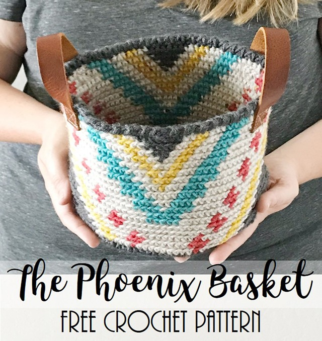 Tapestry crochet basket free pattern