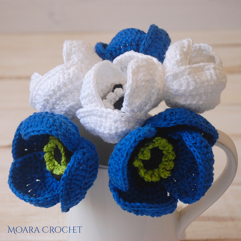 Crochet Anemone Flower Free Pattern with Moara Crochet