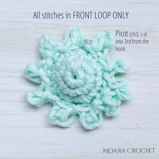 Crochet Daisy Sepals- Moara Crochet