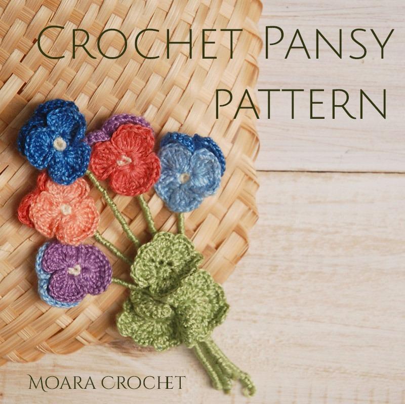 Crochet Pansy Flower - Moara Crochet