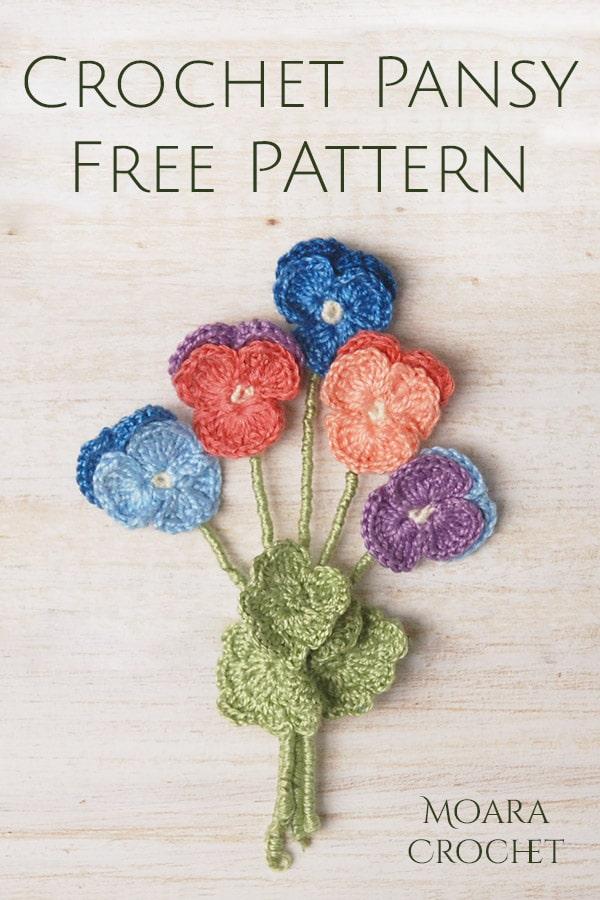 Crochet Pansy Free Pattern - Moara Crochet