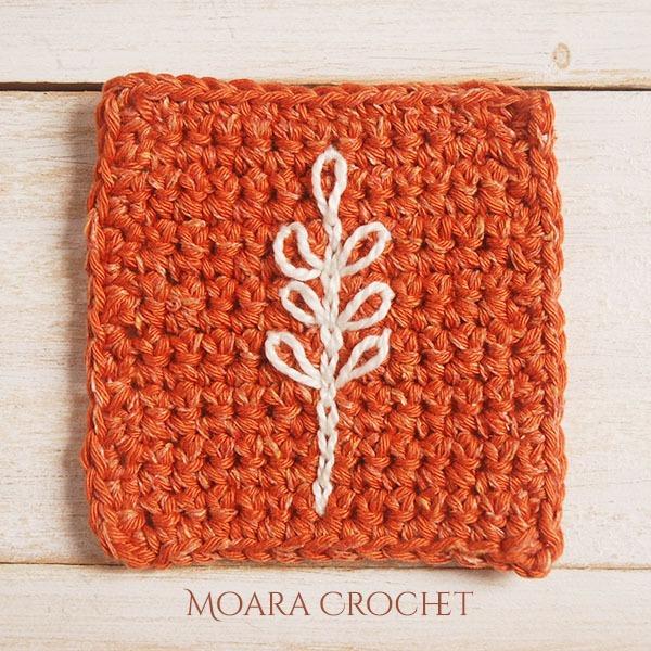 Embroidery on Crochet Coaster Pattern - Free Crochet Patterns - Moara Crochet
