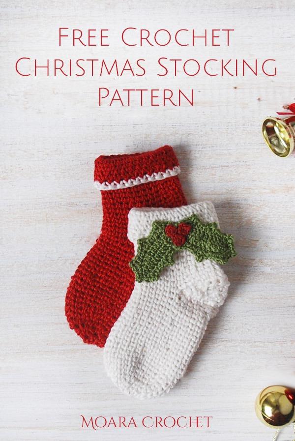 Crochet Christmas Stocking free pattern - Moara Crochet