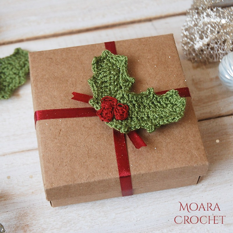 Crochet Holly Leaf Free Pattern from Moara Crochet Blog