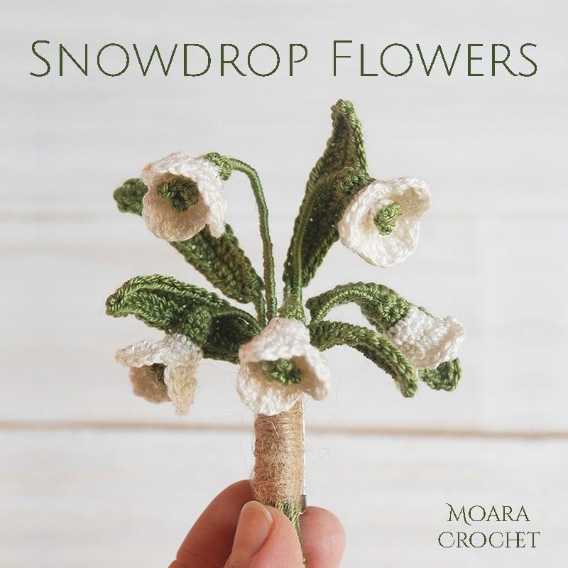 Crochet Snowdrops FLower Pattern - Small Moara Crochet