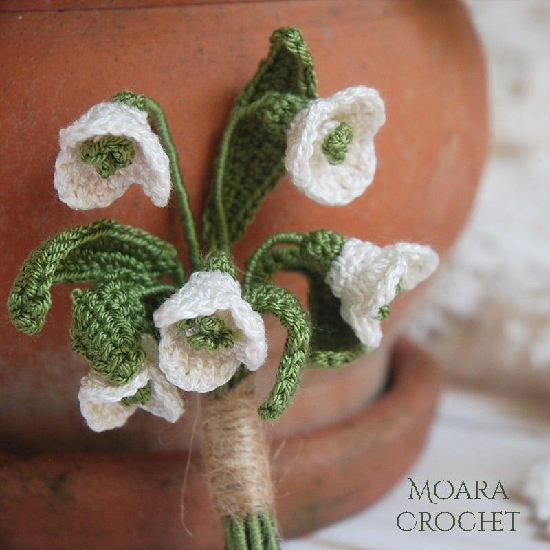 Crochet Snowdrops Flowers - Free Patterns -Moara Crochet