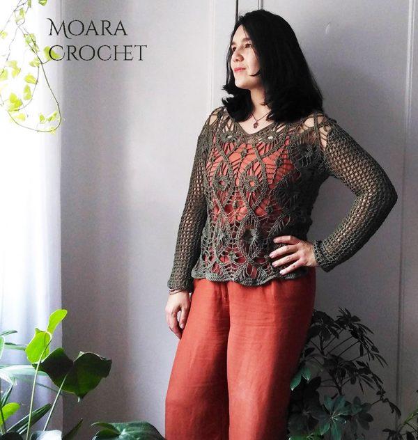 Crochet Top Pattern - Evil Eye Tunic - Moara Crochet
