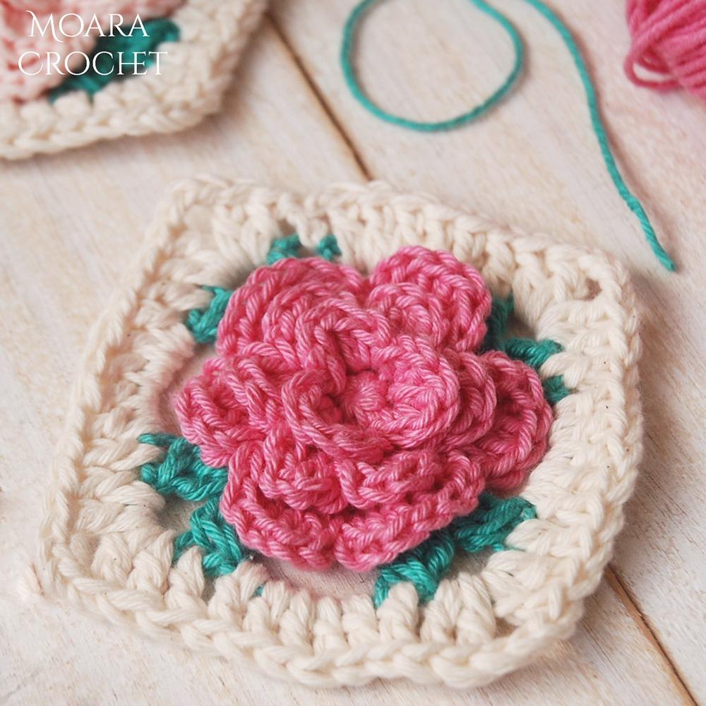 Free Crochet Rose Granny Square - Moara Crochet