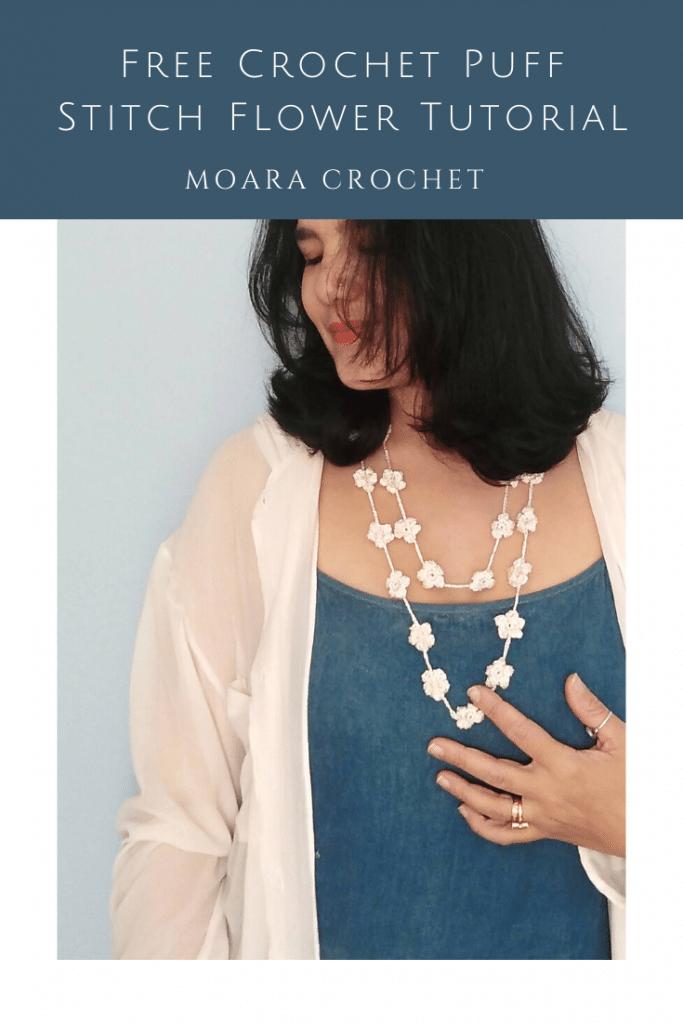 How to crochet puff Stitch FLower with Moara Crochet